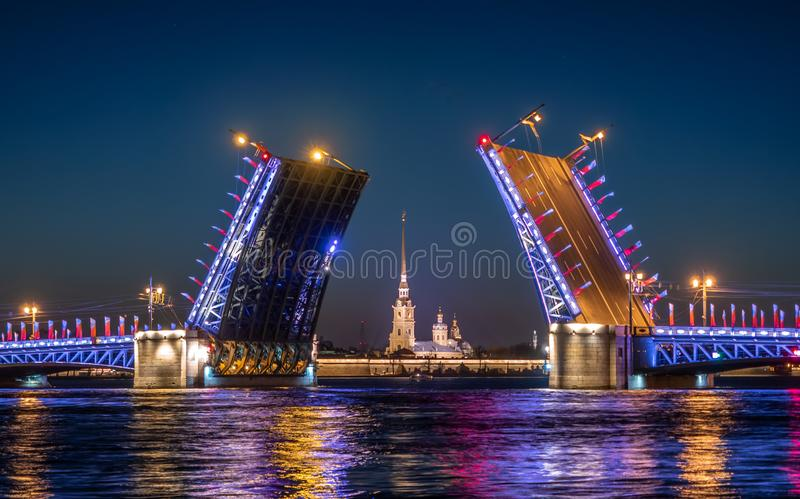Divorced Palace Bridge in front of Peter and Paul fortres stock photos