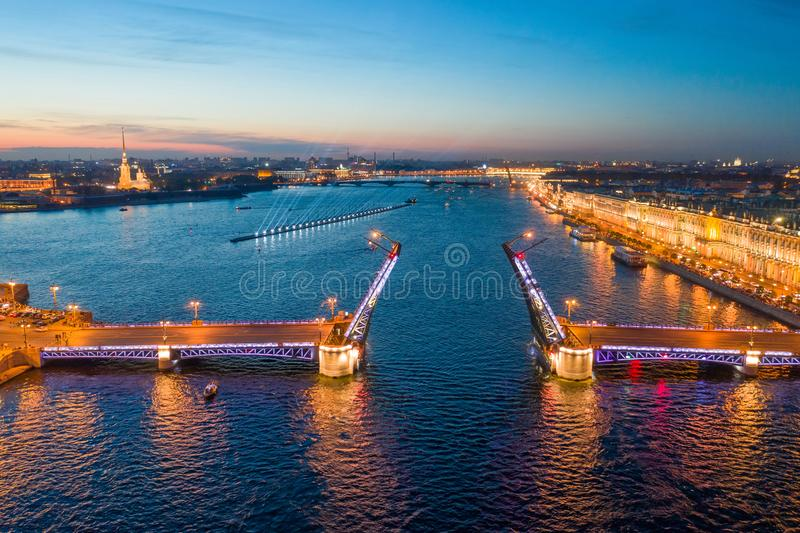 Divorced Palace Bridge and Peter and Paul Cathedral. St. Petersburg stock image