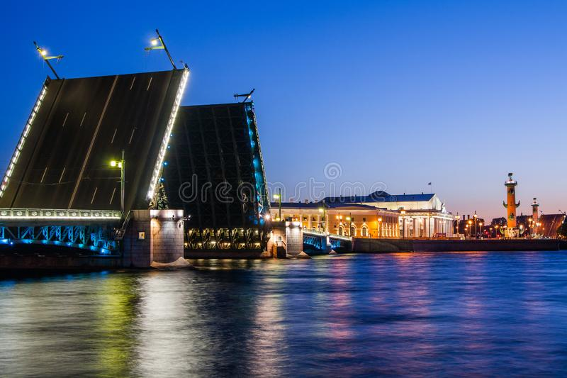 Divorced Palace Bridge during the White Nights , St. Petersburg, Russia. July 3, 2010. Divorced Palace Bridge during the White Nights wiev on Kuntskamera , St stock images