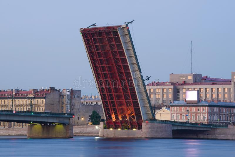Divorced span of the Liteyny Bridge. White nights in St. Petersburg. Russia. Divorced span of the Liteyny Bridge close up. White nights in St. Petersburg. Russia royalty free stock photo