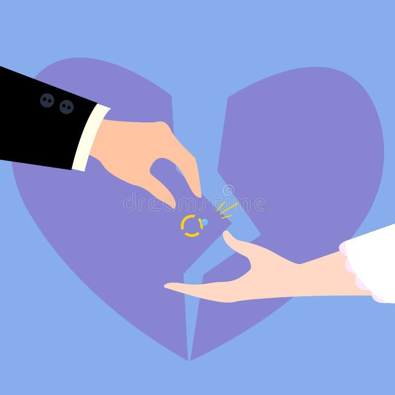 Divorcement delle coppie Cuore rotto, anello di diamante illustrazione vettoriale