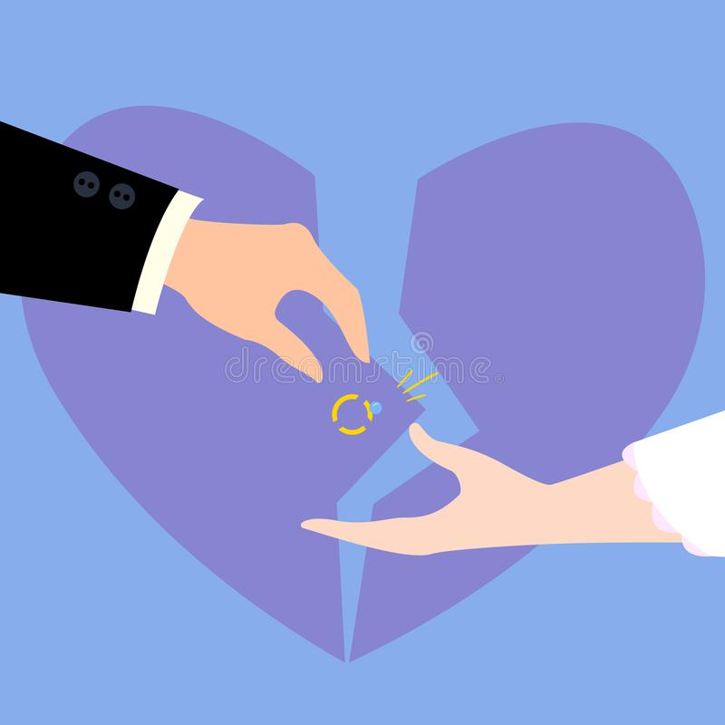 Divorcement des couples Le coeur brisé, bague à diamant illustration de vecteur