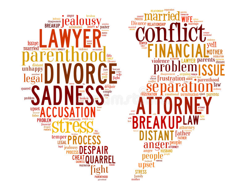 Divorcie-se coração quebrado, conceito 5 da nuvem da palavra ilustração royalty free