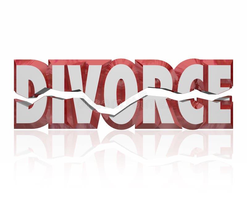Divorcie-se palavra vermelha a separação legal quebrada da união 3d ilustração royalty free