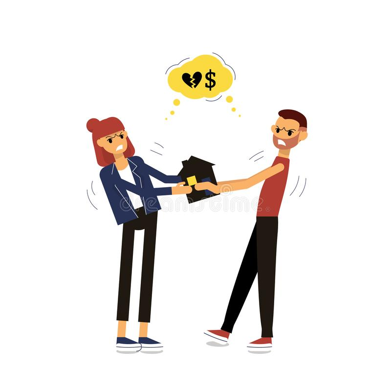 Divorcing man and woman fighting for property. Pulling small house royalty free illustration