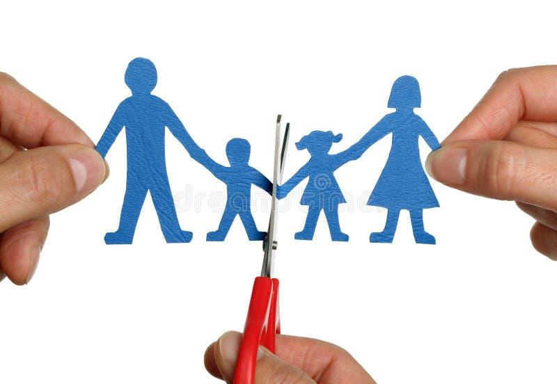Divorcio de cadena de papel de la familia imagen de archivo