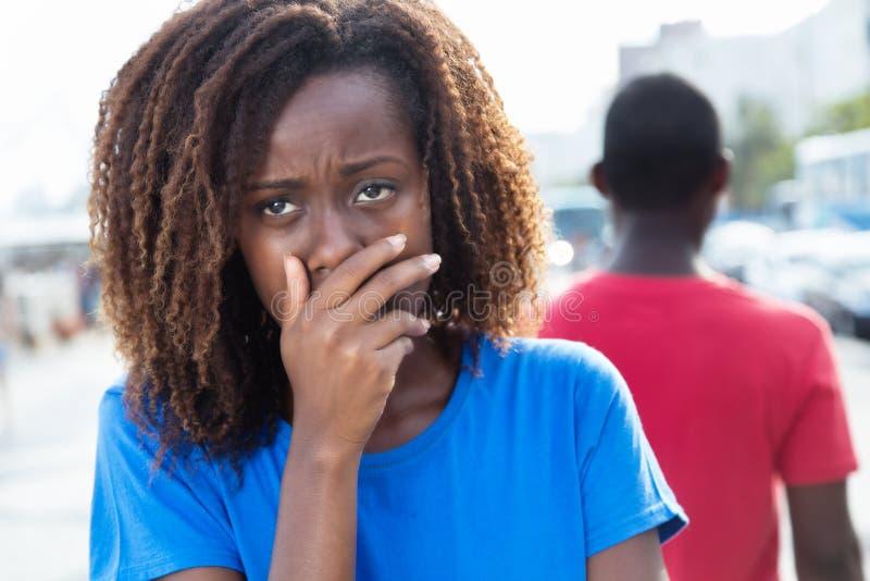 Divorcio de un par afroamericano imagen de archivo libre de regalías