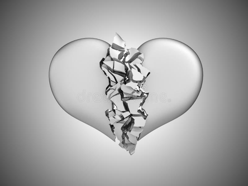 Divorcio y muerte. Corazón quebrado stock de ilustración
