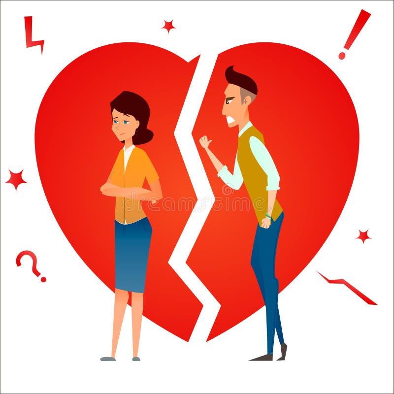 divorzio Combatti e discuta Un litigio di due genti Conflitto della famiglia Relazione dello smembramento Uomo della coppia sposa royalty illustrazione gratis