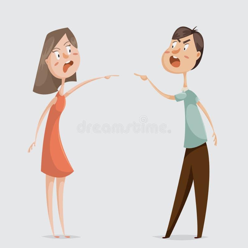 divorzio Conflitto della famiglia Le coppie equipaggiano e la donna giura royalty illustrazione gratis