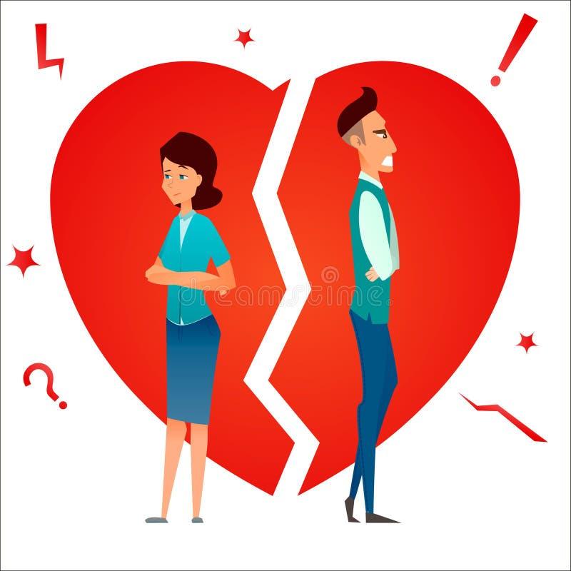 divorzio Conflitto della famiglia Relazione dello smembramento Uomo e donna della coppia sposata arrabbiati e tristi contro cuore illustrazione di stock