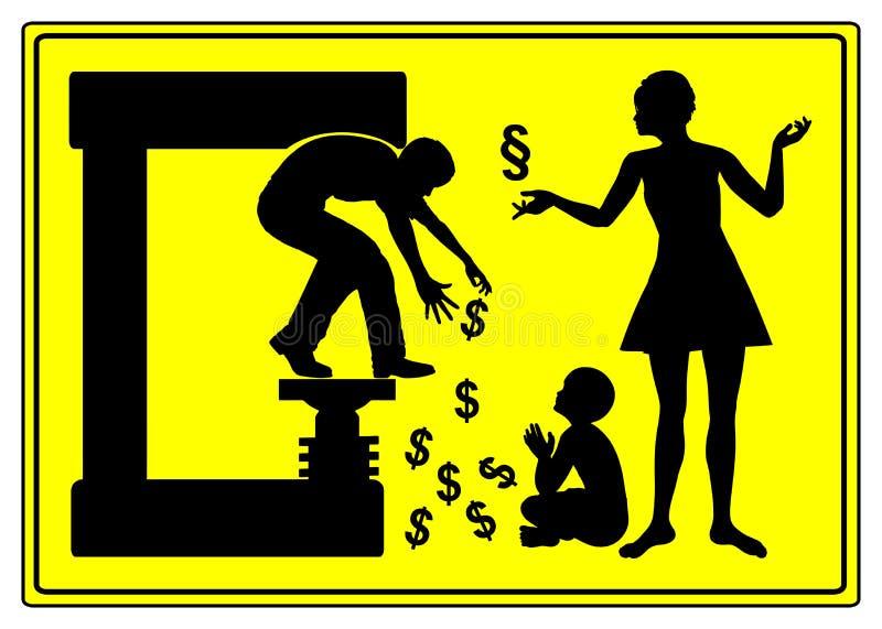 Divorzio ed assegno alimentare illustrazione di stock