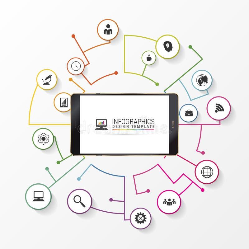 Divulgue la plantilla hecha de líneas y de círculos Infographic stock de ilustración
