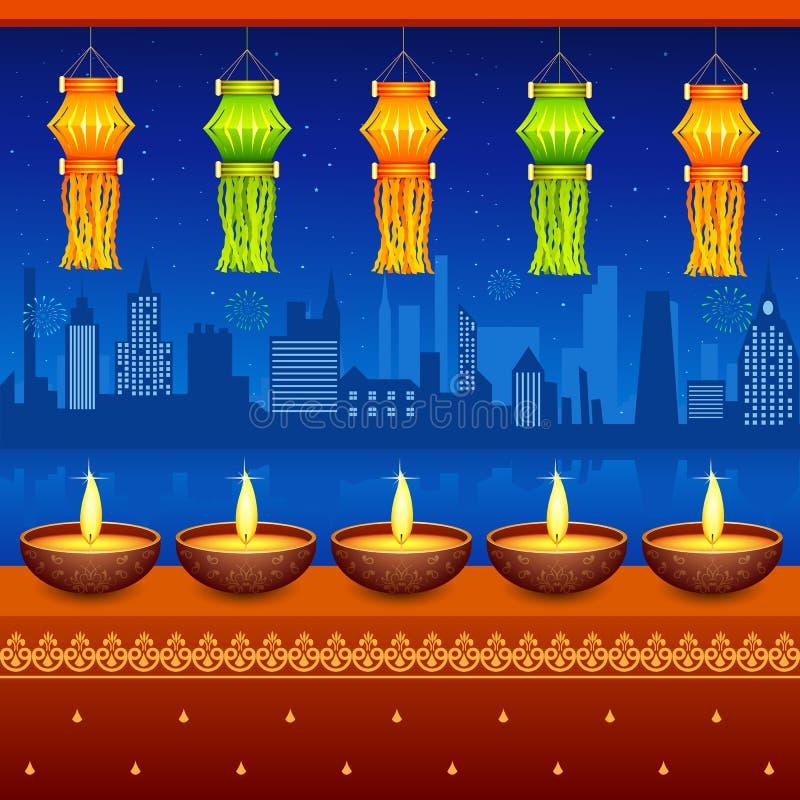 Diwali停止的灯笼 向量例证