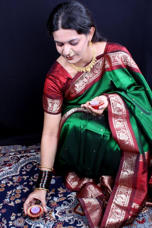 diwali妇女 免版税库存图片
