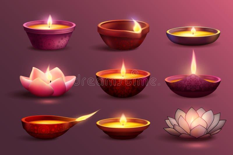 Diwali Świąteczne świeczki Ustawiać ilustracja wektor