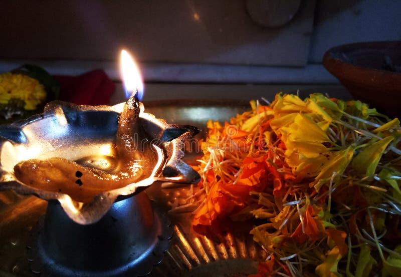 Diwali światła płomienia Dewocyjny festiwal zdjęcie stock