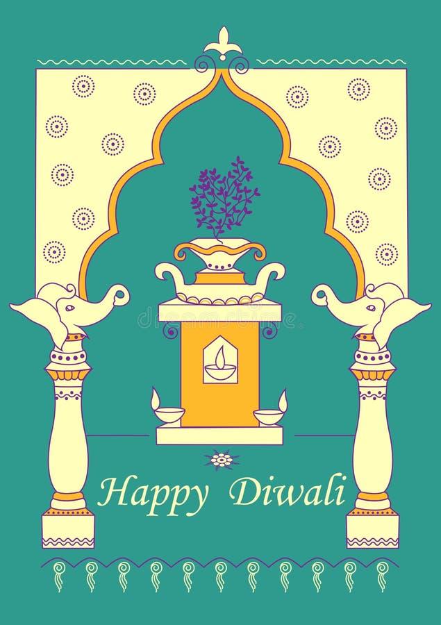 Diwali украсило diya на стойке завода Tulsi для светлого фестиваля Индии в индийском стиле искусства иллюстрация штока