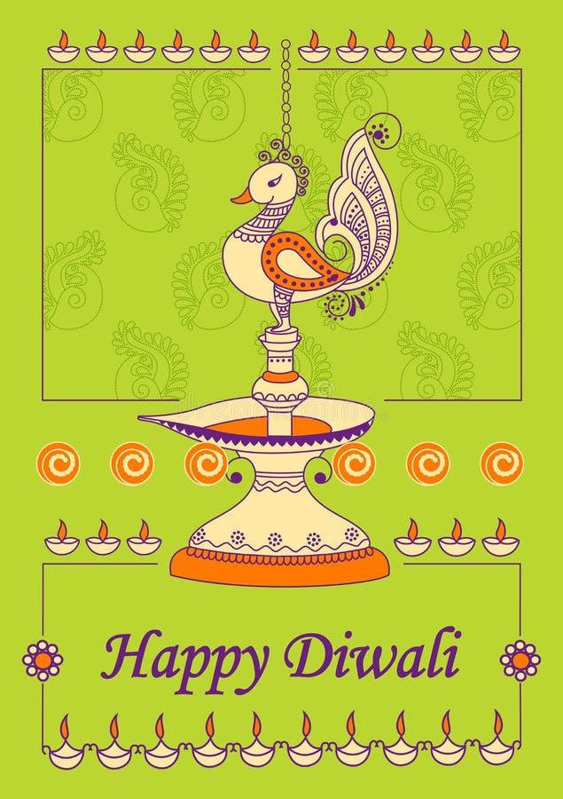 Diwali украсило diya для светлого фестиваля Индии бесплатная иллюстрация