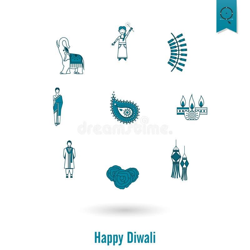 diwali 印地安节日象 皇族释放例证