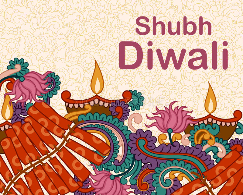 Diwali adornó diya y el fircracker stock de ilustración
