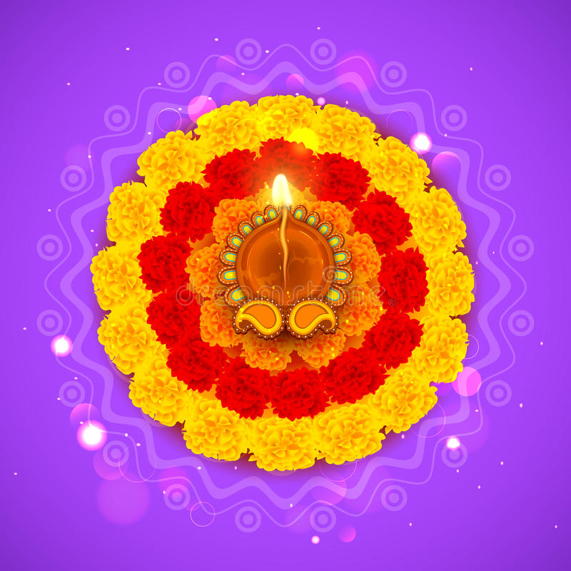 Diwali adornado Diya en la flor Rangoli libre illustration