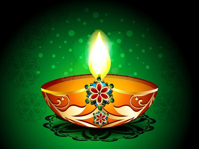 Diwali Background with artistic deepak royalty free illustration