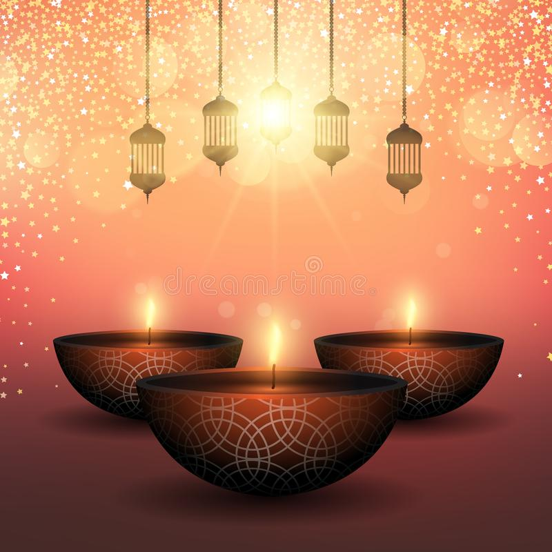 Diwali background with oil lamps on starry background stock illustration