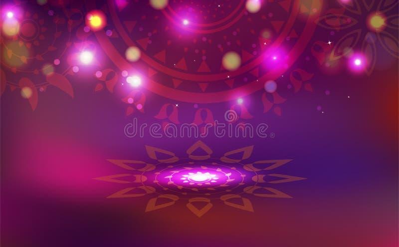 Diwali beröm, garnering med hinduisk idérik texturstil för blom- mandala, abstrakt bakgrundsvektor för ljus skinande festival royaltyfri illustrationer