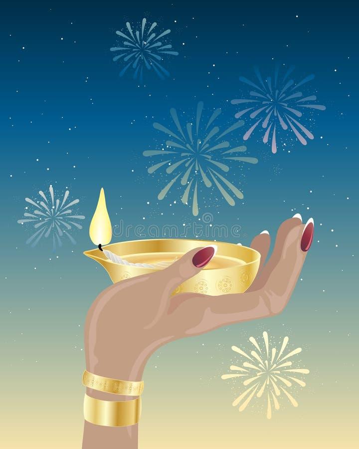 Diwali candle royalty free illustration