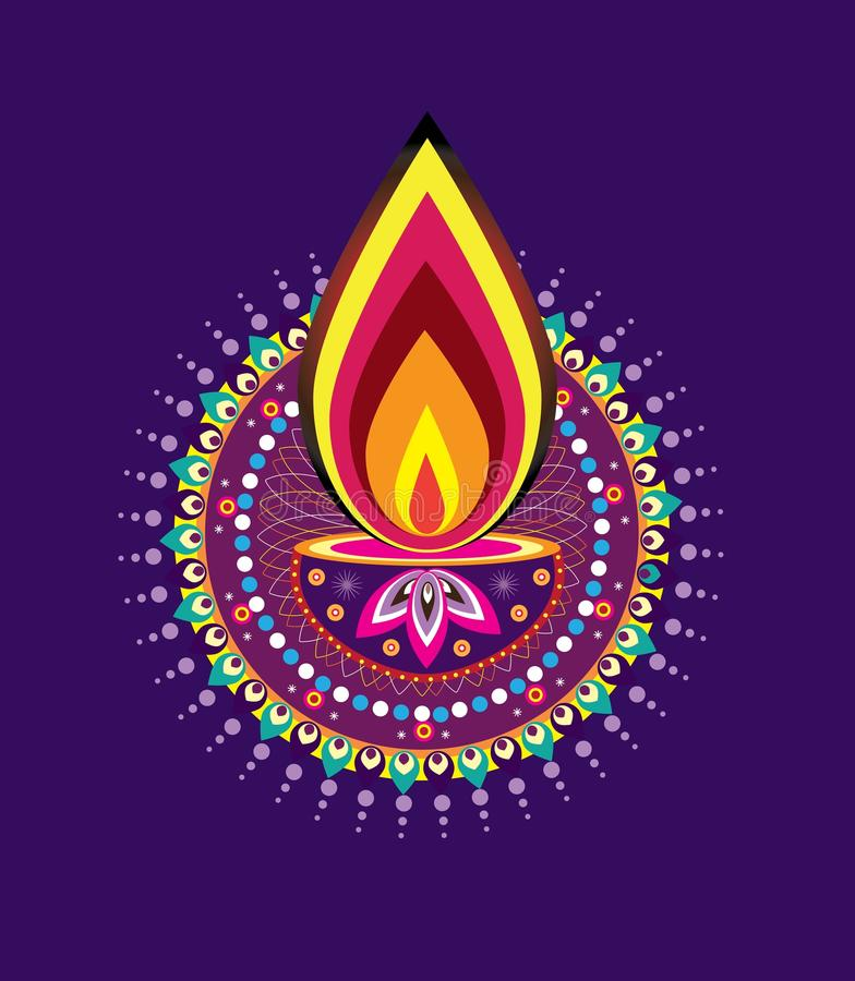 Diwali candle light stock vector. Illustration of kolam ...