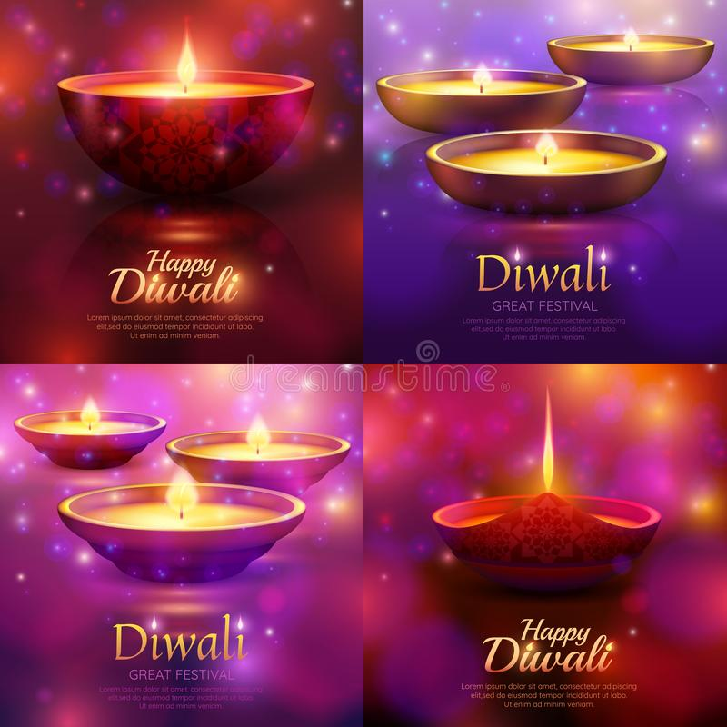 Diwali Celebration Design Concept. With burning festive lamps on purple blurred background with sparkles isolated vector illustration vector illustration