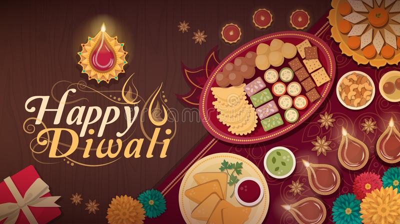 Traditional Diwali celebration at home with food and lamps. Diwali celebration at home with traditional food and lamps vector illustration