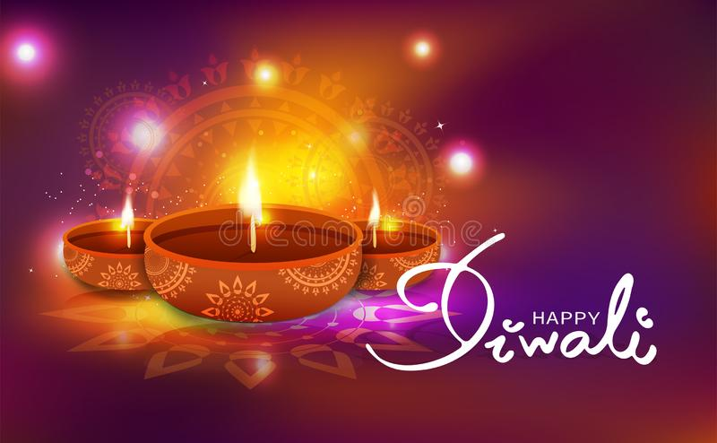 Diwali, celebration, oil lamp decoration with floral mandala Hindu creative style, light shiny festival blur background vector il royalty free illustration