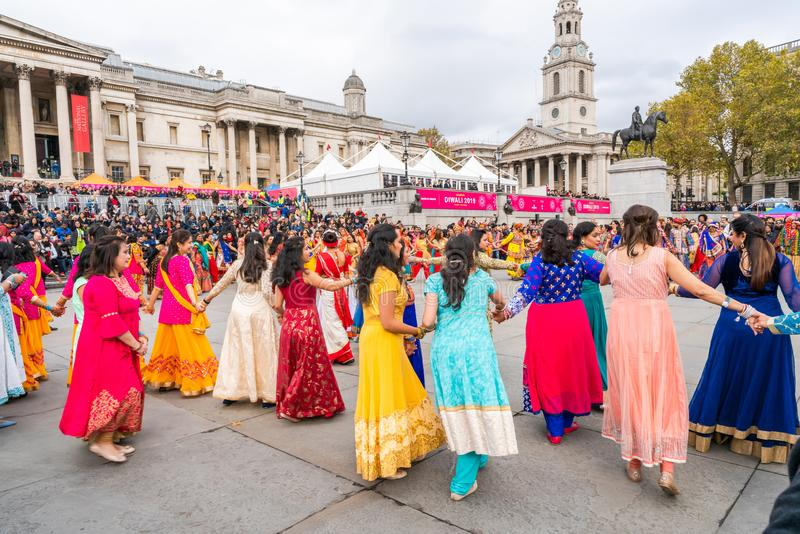 Diwali celebrations in London, UK stock images