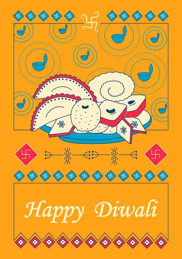 Diwali a décoré le diya avec le dessert assorti pour le festival léger de l'Inde dans le style indien d'art illustration stock