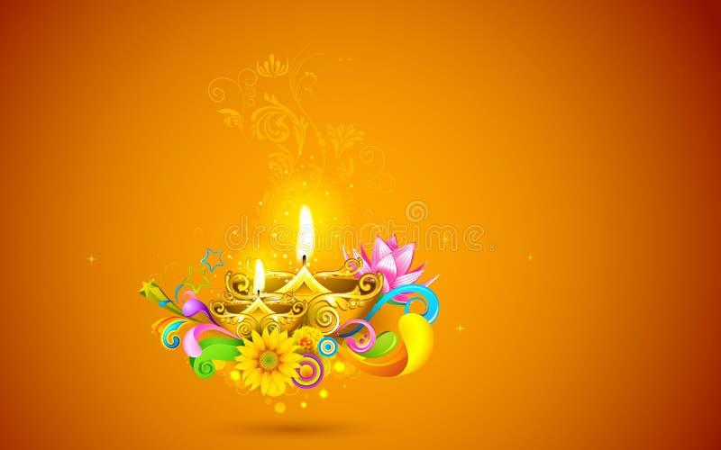 Diwali de queimadura Diya ilustração do vetor