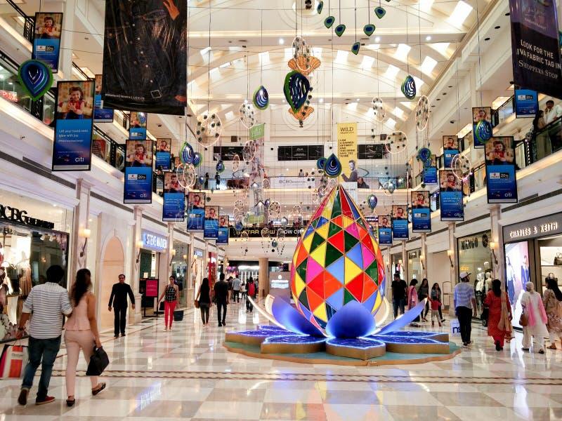 Diwali decorations at Ambience mall Delhi stock photo