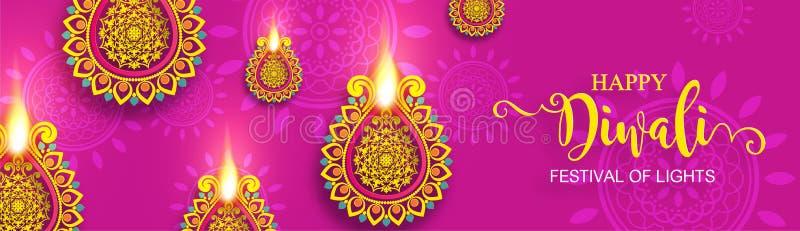 Diwali, Deepavali или Dipavali фестиваль огней иллюстрация вектора