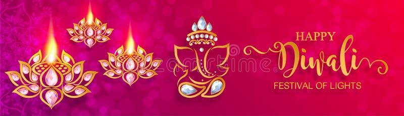 Diwali, Deepavali of Dipavali het festival van lichten vector illustratie