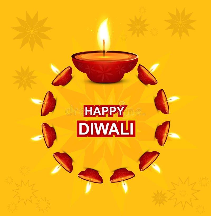 Diwali die Diya voor Hindoes festival verlichten  vector illustratie