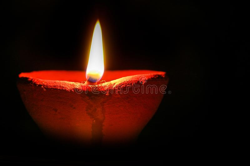 Diwali Diya. Burning Diwali Diya lights during the festival of lights royalty free stock photos