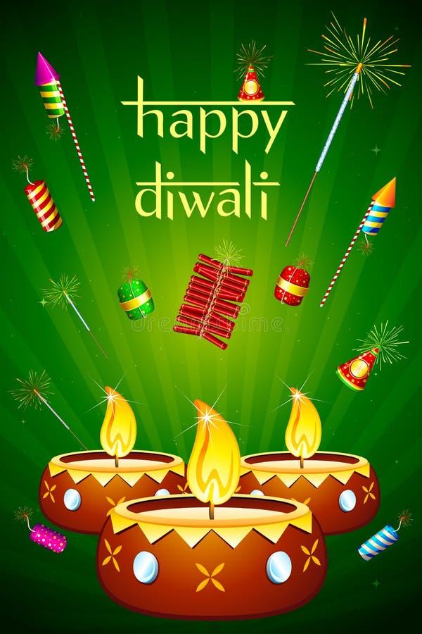 Diwali Diya com foguete ilustração stock