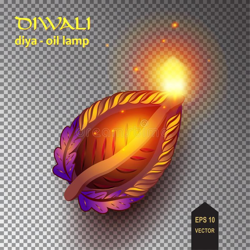 Diwali, Diya nafciane lampy - ilustracja wektor
