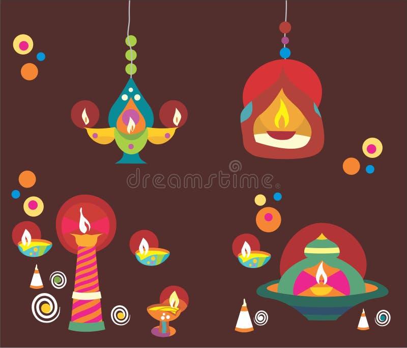 Diwali Diyas ilustração stock