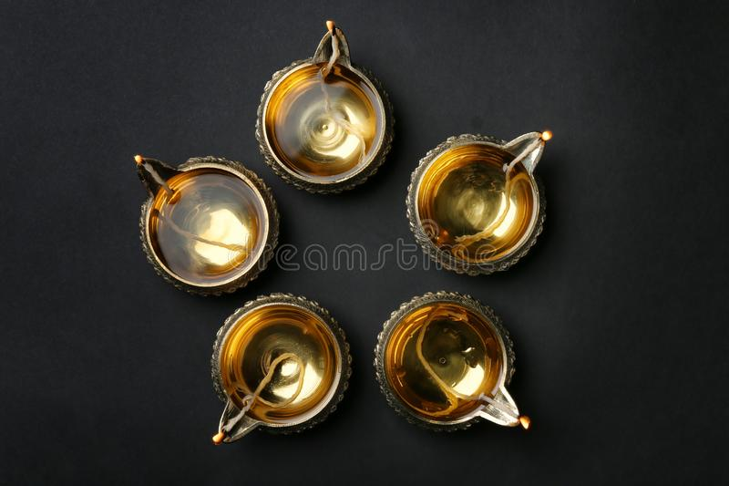 Diwali diyas eller leralampor royaltyfri bild