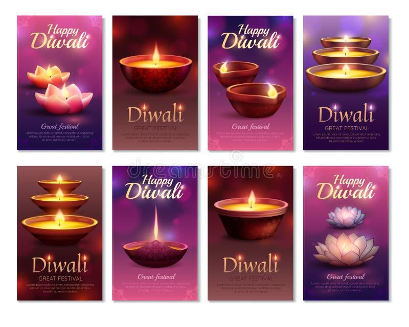 Diwali-Feier-Vertikalen-Karten lizenzfreie abbildung