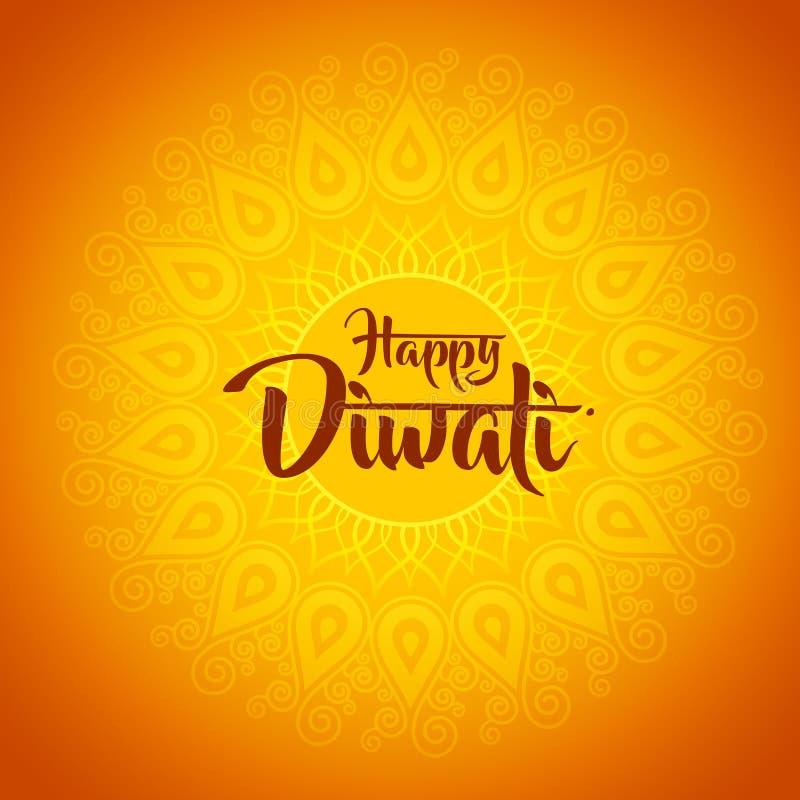 Diwali felice con l'ornamento di hennè illustrazione di stock