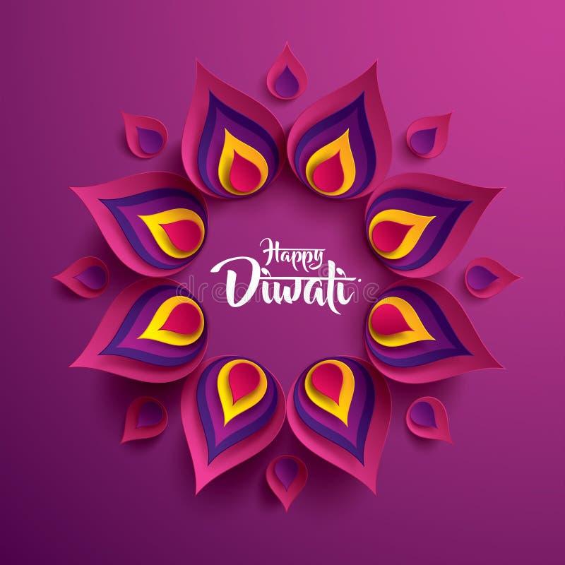 Diwali felice Grafico di carta dell'indiano Rangoli illustrazione di stock