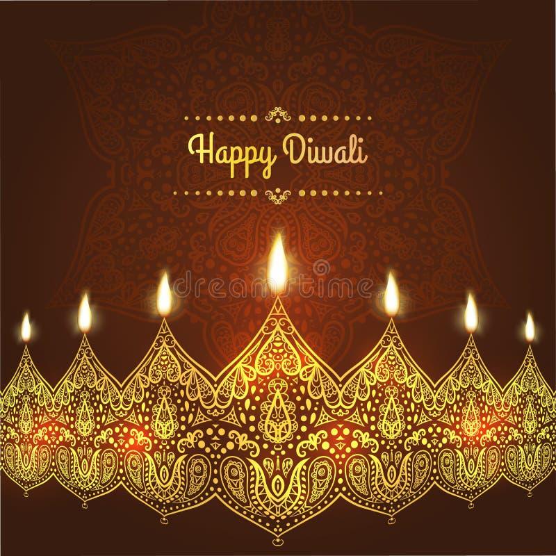 Diwali felice, Progettazione della cartolina d'auguri per il festival con le belle lampade ornamentali, fiamma di Diwali di una c illustrazione di stock